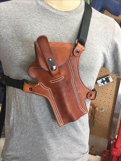 Light Brown Handmade Leather Half Flap Chest Holster