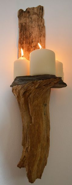 Driftwood and Slate Wall Sconce by CornishCreationsUK on Etsy, £14.99