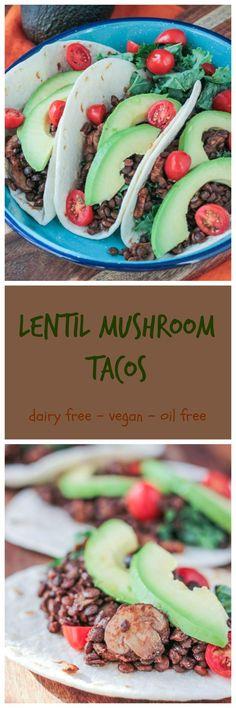 Lentil Mushroom Tacos - an #easy #meatlessmonday or tacotuesday dish!