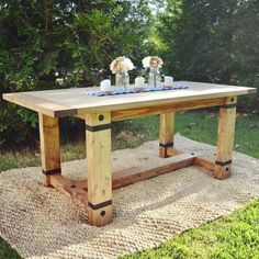 Farmhouse table idea & plans find and save about table plans . See more ideas about Farm style kitchen plans, Farm table plans and DIY dining room. Farm Table Plans, Rustic Farmhouse Table, Industrial Farmhouse, Industrial Interiors, Ikea Industrial, Industrial Furniture, Industrial Closet, Industrial Shop, Industrial Restaurant