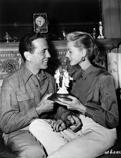 Humphrey Bogart Lauren Bacall Wedding in Couple Scene Premium Art Print