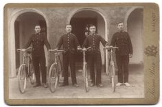 Four cyclists proudly show off their steeds. The two soldiers on the ends are members of the 3rd Kings Own  Husssars. The two soldiers in the center are members of the 2nd Battalion, The Gordon Highlanders. Their  regiment signified by the tiger collar badges as well as the Scottish doublets and tartan trews.    The 3rd Hussars were stationed in India around 1902. The 2nd Gordons were there between 1902 and  1904.
