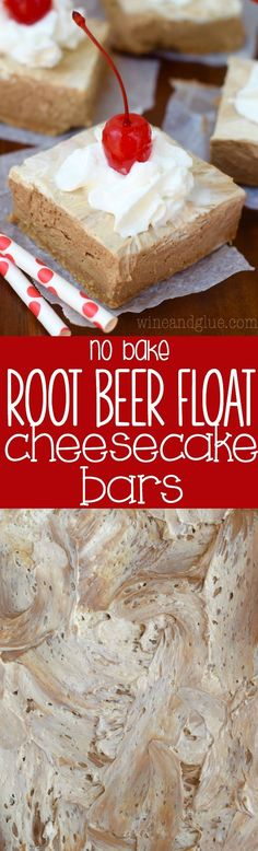 These Root Beer Float No Bake Cheesecake Bars are so easy to throw together, and full of creamy delicious root beer flavor!