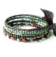 Stacked bead bracelets    brown & turquoise picasso by dalystudios, $16.00