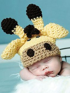 Giraffe Hat Crochet Pattern Download from e-PatternsCentral.com -- This hat is so cute! You can make it for boys or girls and in any size!