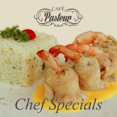 We invite you to savor our #CaféPasteur Chef's Specials: FISH ROLL ROYCE -  Prawn and fish roulade with Mandarin sauce and served with pilaf rice.