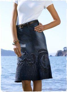 Cute denim skirt -- reverse applique (maybe alabama chanin?)