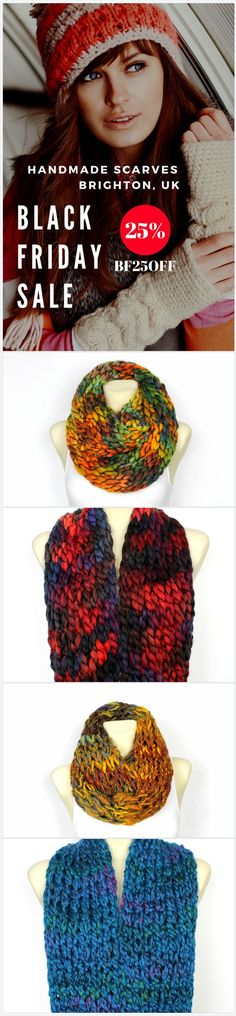 Black Friday Sale 25%OFF use coupon code BF25OFF. Unique super chunky knit handmade scarves available in over 150 trendy fashion designs. Take advantage of Black Friday Deals which end on Cyber Monday this time! Chose unique Christmas gift idea for a women, men or a kid. Give your mom, wife, girlfriend or simply a friend beautiful present made with love in Brighton,UK. Fashion Accessories are trendy this year! Save this pin for later or click through to shop in Locotrends on Etsy…