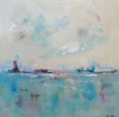 Coastal Art Seascape Cityscape Painting  City by lindadonohue