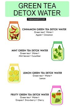 Detox Diets are great for cleansing out your body. You can detox regularly by using the detox diet plan as a regular part of your lifestyle. A proper detox diet will help you lose weight and will make you feel lighter and better than ever before. Bebidas Detox, Water For Health, Green Tea Detox, Green Tea Cleanse, Green Diet, Green Teas, Green Fruit, Sugar Detox Diet, Smoothie Detox
