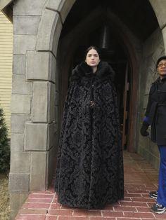 Salem season one.  Cut velvet cape with black fox trim.  #josephporrodesigns