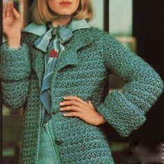 Vintage crochet pattern for star stitch jacket #teal #crochet #vintage @Kaitlyn Cannon