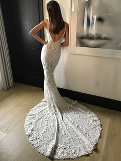 """Celisha"" Dress with V-Back & Long Embroidered Train 