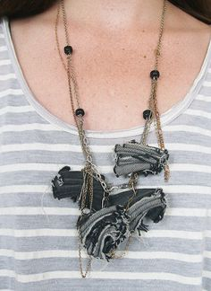 Recycled jean fabric necklace by MAGICOVERACID