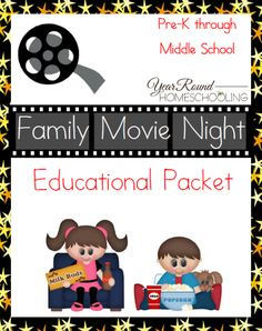 Free Family Movie Night Educational Packet - http://www.yearroundhomeschooling.com/free-family-movie-night-educational-packet/