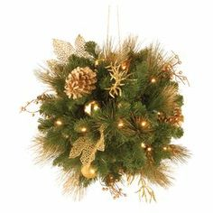 "Pre-lit indoor/outdoor faux pine kissing ball with gold leaf and berry accents.  Product: Kissing ballConstruction Material: PVC and metalColor: Green and goldFeatures:  Pre-litFlame-resistant and non-allergenic Accommodates: (2) D batteries - not includedDimensions: 20"" Diameter"