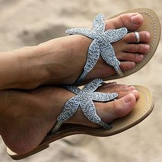 Beaded Starfish Sandals (not crazy shoes but neat! Starfish Sandals, Beaded Starfish, Starfish Bracelet, Cute Shoes, Me Too Shoes, Awesome Shoes, Awesome Food, Estilo Resort, Beaded Sandals