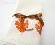 How-To: Hand-Printed Leaf Napkins
