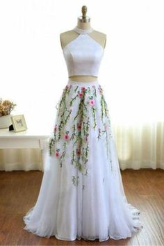 White 2 Pieces Long Elegant A-line Appliques Beautiful Prom Dresses For Teens Z0738