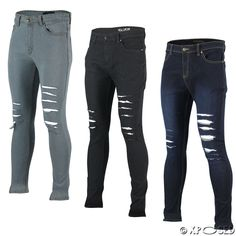 a3bb7a8fe5b2 Men s New Black Blue G72 Super Stretch Ripped Skinny Slim Fit Denim Jeans  Pants