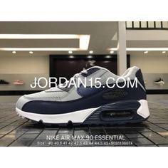 9a4df74b940fd Nike Air Max 90 Essential 537384 064 Mens Retro Running Shoes Wolf Grey    Binary Blue