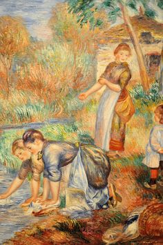 Pierre Auguste Renoir ~ Washerwomen, 1888 at Baltimore Art Museum Pierre Auguste Renoir, Edouard Manet, August Renoir, French Impressionist Painters, Laundry Art, Renoir Paintings, Oil Paintings, Paul Cezanne, Art History