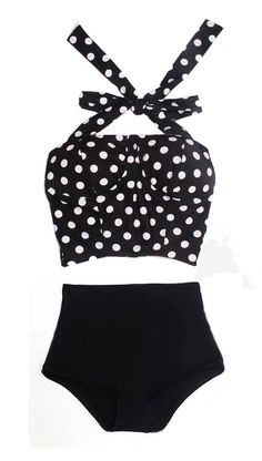 Black White Polka Dot Long Cover Top and Black Bottom Two-piece Bikini Two-piece Swimsuit Swimwear Swimming Bathing suit dress wear S M L