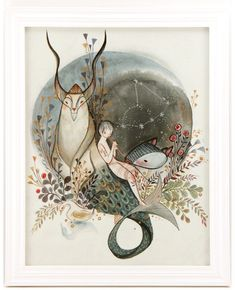 Zodiac Sign: Capricorn Framed Watercolor Original $600 #alinachau