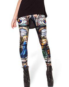 Notre Dame De Paris Print Skinny Elastic Leggings TR0290020