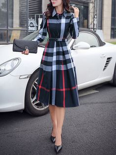 Navy Blue Plaid Belt Turndown Collar Long Sleeve Midi Dress I would definitely wear this, a bit longer, with black boots Outfits with boots 54 Modest Street Style Ideas To Rock This Fall - Luxe Fashion New Trends Trendy Dresses, Elegant Dresses, Cute Dresses, Midi Dresses, Knee Length Dresses, Fall Dresses, A Line Dresses, Work Dresses, Formal Dresses For Women