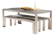 Esstischgruppe Seattle aus Alu von BEST inkl. 2 Bänke, 180x90 cm, Edelstahl-Look - Art.-Nr. 163031 Komplettset Seattle aus zwei Sitzbänken und einem TischEine Möbelkombination so unkompliziert wie die