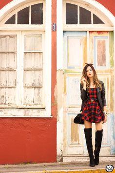 FashionCoolture - 03.07.2015 look du jour plaid dress leather jackets over knee boots (1)