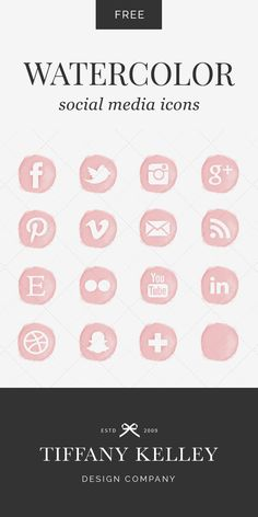 Enjoy these free watercolor social media icons! Six color options to choose…