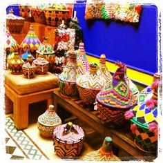Bright baskets at Majorelle Gardens owned by Yves Saint Laurent in Marrakech, Morocco