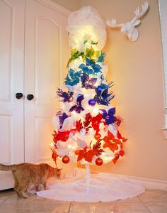 How to Fill Out a White Artificial Christmas Tree + Rainbow Ombre