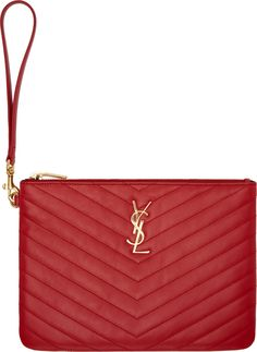 Saint Laurent - Red Quilted Leather Monogram Zip Pouch