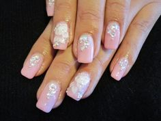 Pink Gel Nails with White 3D Roses and Swarovski Rhinestones