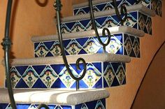 Tiled staircase. Hacienda del Lago, Ajijic, Mexico. Tiled Staircase, Mexico, Shelves, Home Decor, Shelving, Decoration Home, Room Decor, Shelf, Interior Design