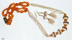 Carnelian and Lampwork bead Necklace