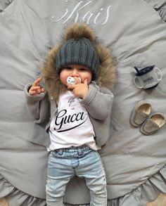 """""""Life is Gucci"""" – with my young Versace pacifier! LaVielen thanks … – Cute Adorable Baby Outfits Little Boy Fashion, Baby Boy Fashion, Toddler Fashion, Fashion Kids, Fashion Clothes, Swag Fashion, Boy Clothing, Fashion Usa, Infant Clothing"""