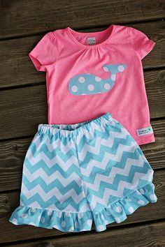 Girl's Chevron Ruffle Shorts & Whale by thegreenelephantco on Etsy, $36.00