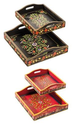 Set of 2 handpainted wood indian trays Funky Painted Furniture, Paint Furniture, Tole Painting, Painting On Wood, Painted Trays, Hand Painted, Wood Crafts, Diy And Crafts, Mosaic Tray
