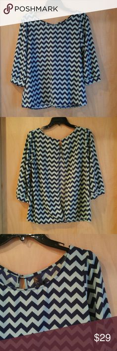 Blu Rain Blue Chevron Striped Open Back Blouse Blu Rain brand blouse from Francesca's, size medium, in excellent condition! Print is a teal and navy chevron stripe. Back is open with one top and one bottom button. 3/4 sleeves. Flowy and classy. Please ask any questions. No trades. Make a reasonable offer. Thanks! Francesca's Collections Tops Blouses