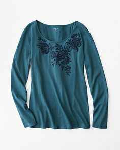 Embroidered Open-Neck Long-Sleeve Knit Top