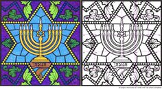 hanukkah coloring pages | Art Projects for Kids: Stained Glass Hanukkah Menorah Mural