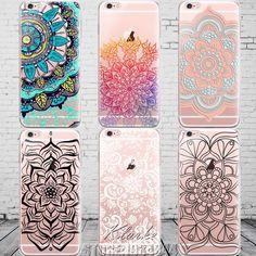 Coloré Floral Paisley Fleur Mandala Henné Clear Case Pour iphone 6 6 s 5 5S se 7 7 plus Silicone Couverture Souple