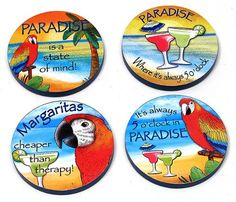 Americanoutfitter Paradise Wood Coaster 4pc Set  Unique Gift For Birthday Christmas Wedding Anniversary Engagement Graduation Couples Men Women Mom Dad Grandpa Sister Wife Husband Friends >>> Want additional info? Click on the image.