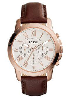Chronograph, »Grant, FS4991«, Fossil. Inspiriert von der Schlichtheit alter Uhren hat diese Herrenarmbanduhr ein klassisches Aussehen und macht sie zu einem stilvollen Accessoire. Die Lieferung erfolgt in einer originellen Dose - auch schön als Geschenkverpackung.Quartzwerk, Zifferblatt elfenbeinfarben, 12/24-Std.-Anzeige, Stoppfunktion, Edelstahlgehäuse, roségoldfarben IP-beschichtet, Ø ca. 44...
