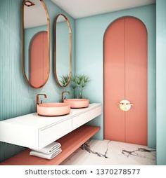 Stock Photo and Image Portfolio by Ume illustration Modern Bathrooms Interior, Bathroom Interior Design, Handmade Home Decor, Cheap Home Decor, Bathroom Inspiration, Interior Inspiration, Design Retro, Living Room Decor, Bedroom Decor