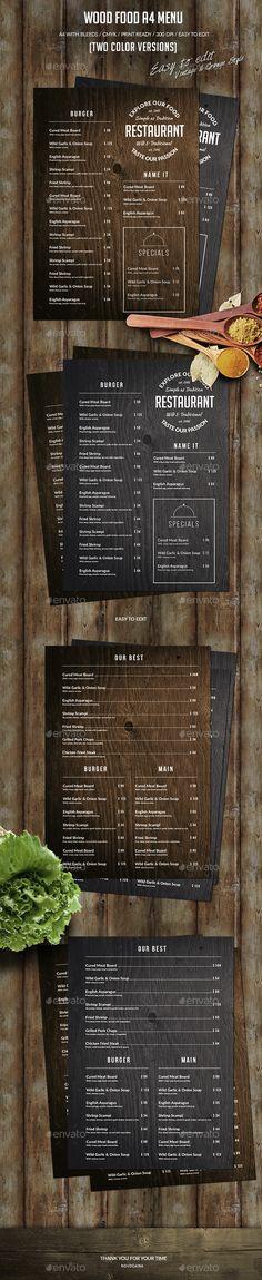 Wood Food A4 Menu - Food Menus Print Templates Download here : https://graphicriver.net/item/wood-food-a4-menu/18807481?s_rank=141&ref=Al-fatih